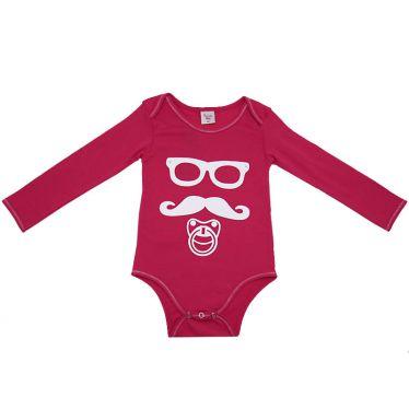 Body bébé Moustache rose 12 mois