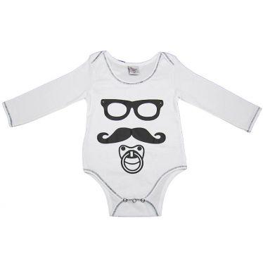 Body bébé Moustache 18 mois, blanc