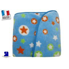 Couverture polaire à poils longs, bleue avec étoiles, 1m x 1m