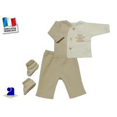 Vêtement bébé: Ensemble polaire 1 mois ourson, beige