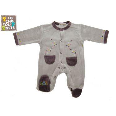 Pyjama bébé prématuré 00 mois gris-mauve