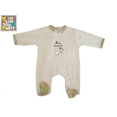 Pyjama bébé prématuré 00 mois beige, canard