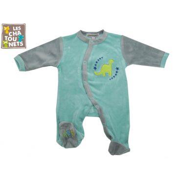 Pyjama bébé prématuré 00 mois dino, bleu
