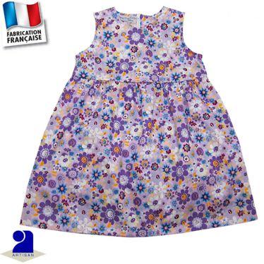Robe sans manches imprimé fleurs Made in France
