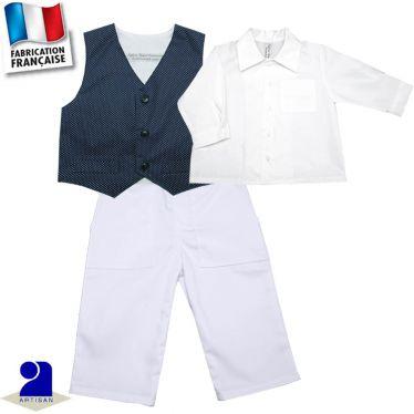Pantalon+chemise+gilet 1 mois-4 ans Made in france