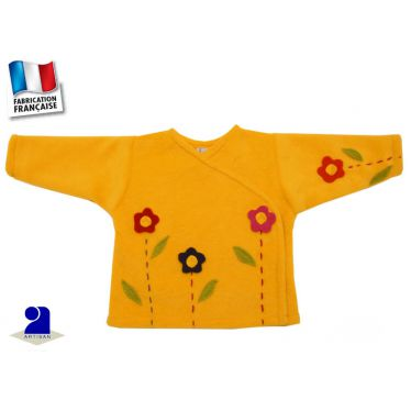 Cardigan bébé, polaire 3 mois, jaune décoré fleurs