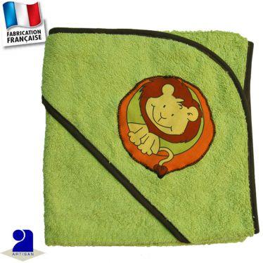 Cape de bain motif lion appliqué Made in France