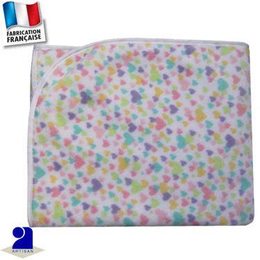 Plaid-couverture imprimé Coeurs 100 x 100 cm Made in France
