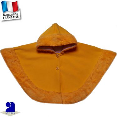 Cape-poncho bordée fausse fourrure Made in France