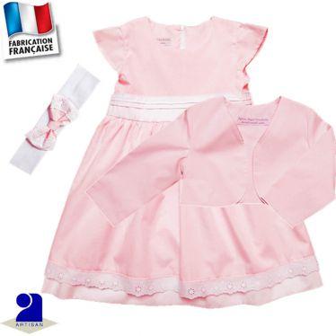 Ensemble 3 pièces robe,boléro,bandeau Made in France