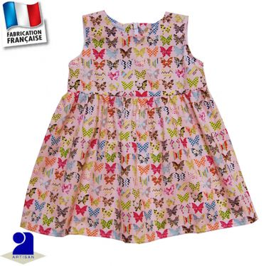 Robe sans manches imprimé papillons Made in France
