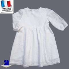 Robe baptême broderie anglaise, manches longues Made In France