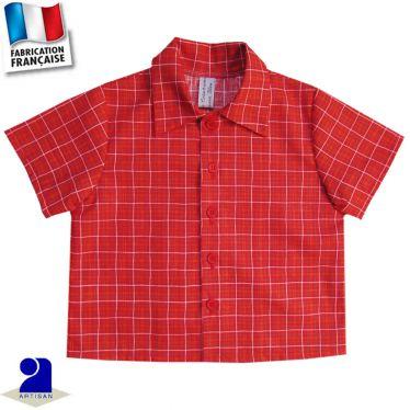 Chemise manches courtes imprimé carreaux Made in France