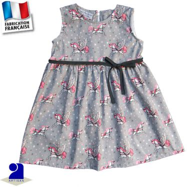 Robe sans manches imprimé licorne Made in France