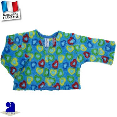 Boléro-gilet court touché peluche Made in France