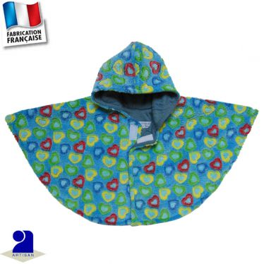 Poncho-Cape à capuche peluche Made in France