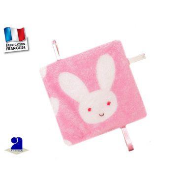 Doudou plat fille, rose imprimé lapin