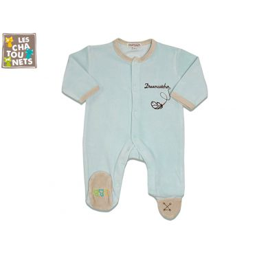 Pyjama bébé prématuré 00 mois indien, bleu
