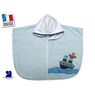 Poncho de bain bébé 0-2 ans, bleu, ourson marin