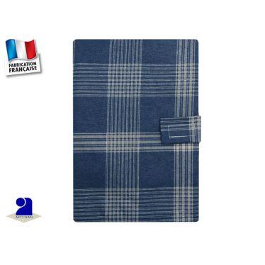 Protège carnet de santé imperméable carreaux bleus