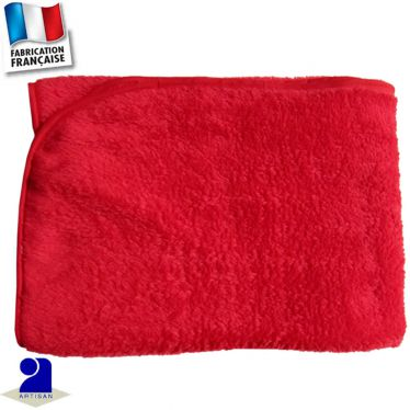 Plaid couverture uni touché peluche 100 x 100 cm Made in France