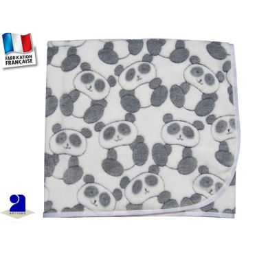Couverture berceau polaire imprimé Panda Made in France