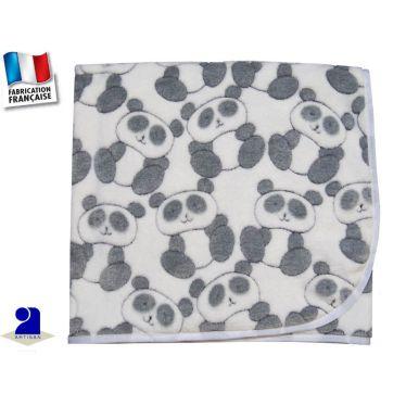 Couverture berceau polaire imprimé Panda Made in France