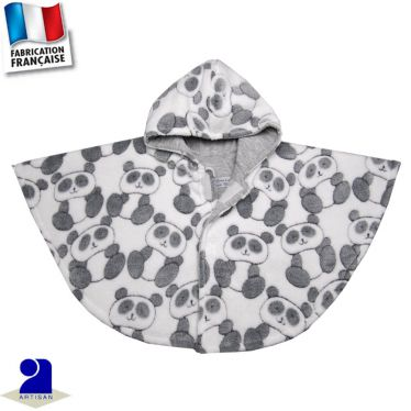 Poncho-Cape en polaire Panda  Made In France