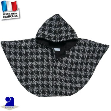 Poncho-Cape lainage pied de coq Made in France