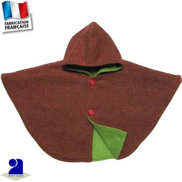 Poncho-Cape lainage chevrons Made in France