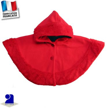 Poncho-Cape bordé fausse fourrure Made in France