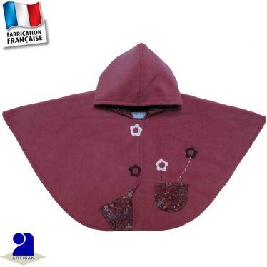 Poncho-Cape à capuche fleurs appliquées Made in France