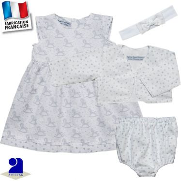 Robe, boléro, bloomer, bandeau imprimé chevaux Made in France