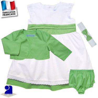 Ensemble 4 pièces robe, boléro, bloomer, bandeau Made in France
