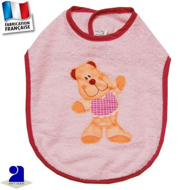 Bavoir Ourson appliqué Made in France
