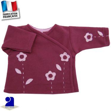 Gilet forme brassière fleurs appliquées Made in France