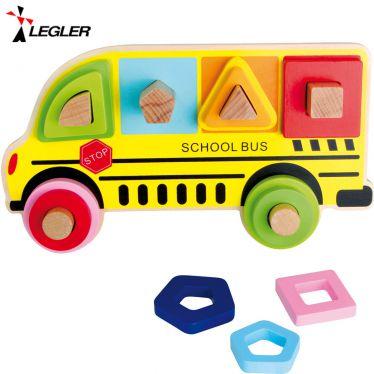 Puzzle formes à encastrer en bois Bus scolaire