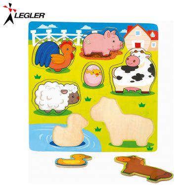 Puzzle 7 grandes pièces en bois petits animaux de la ferme