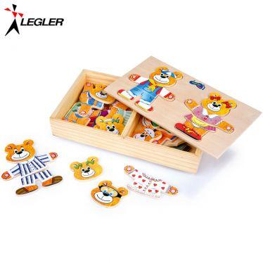 Puzzle en bois Famille Ours à habiller