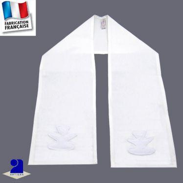 Etole de baptême blanche Ourson en blanc