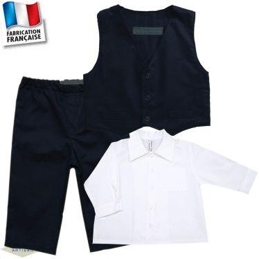 Ensemble pantalon + gilet + chemise 0 mois-10 ans Made in France