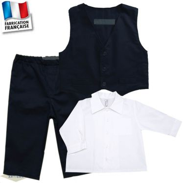 Ensemble 3 pièces pantalon, gilet, chemise Made in France