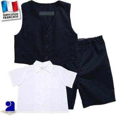 Ensemble bermuda + gilet + chemise 0 mois-10 ans Made in France