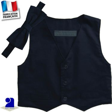Gilet sans manches + noeud 0 mois-10 ans Made in France