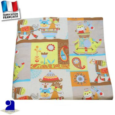 Couverture imprimé Animaux arabesques Made in France
