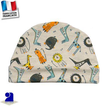 Bonnet avec revers imprimé animaux Made In France