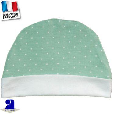 Bonnet avec revers imprimé pois Made In France