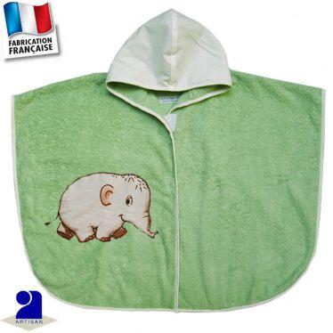 Poncho de bain Eléphant appliqué Made in france