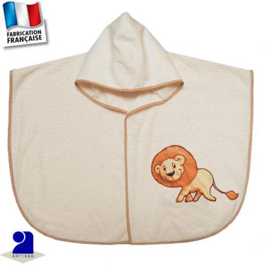 Poncho de bain Lion appliqué Made in france