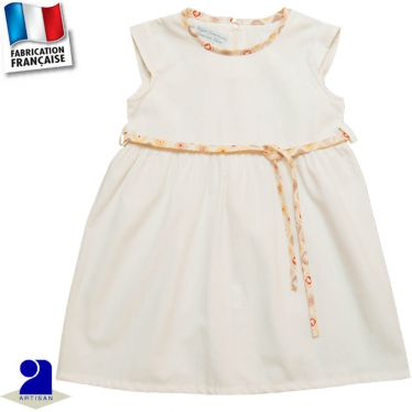 Robe manches courtes + ceinture Made in France